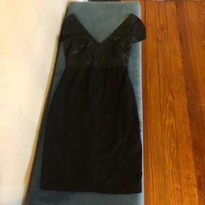 Leather top/deep V Zara dress